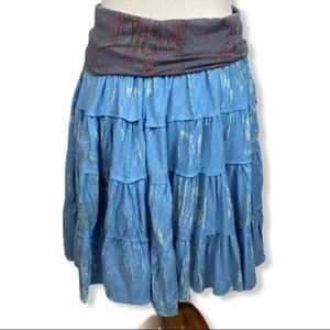 Anthro Butterfly dropout tiered circle skirt